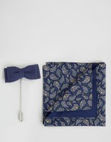 Devils Advocate Pocket Square in Tear Drop Print and Bow Pin