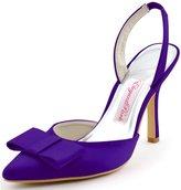 ElegantPark HC1404 Women High Heel Satin Bow Pointed toe slingback Bridal Wedding Shoes US 11