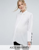 Asos Blouse with Contrast Lace Up Cuff