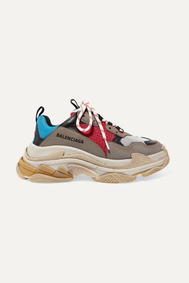 Balenciaga Triple S Logo-embroidered Leather, Nubuck And Mesh Sneakers - Blue