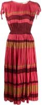 Ulla Johnson Sleeveless Ruched Striped Print Dress