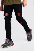 boohoo Mens Black Skinny Check Rip & Repair Jeans, Black