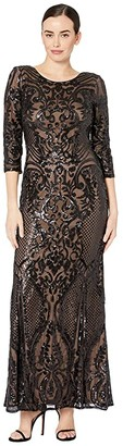 Alex Evenings Long Sequin Fit-and-Flare Dress (Black/Nude) Women's Dress