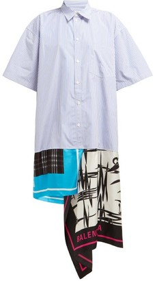 Balenciaga Scarf-panelled Striped Cotton Shirtdress - Womens - Blue Multi