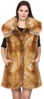 Adelaqueen Clearance! Women's Shaggy Fox Faux Fur Winter Vest Size M