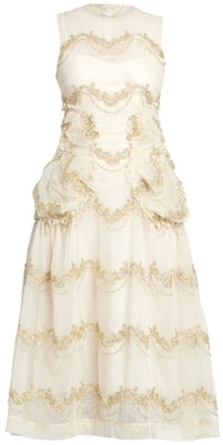 Simone Rocha Sleeveless Smocked A-Line Dress
