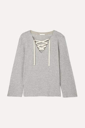 Skin - Elyce Lace-up Ribbed Cotton-blend Jersey Top - Light gray