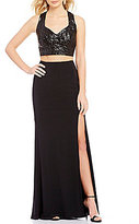 B. Darlin Lace-Up Open Back Sequin Top Two-Piece Long Dress