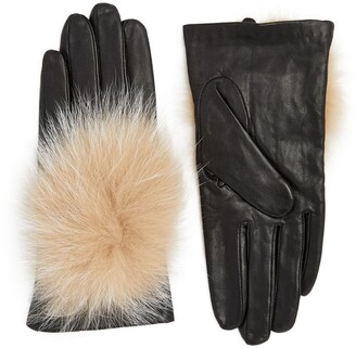 Canadian Hat Fox Fur-Trim Leather Gloves