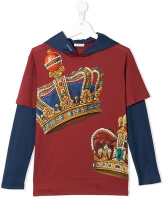 Dolce & Gabbana Kids Crown Print Layered Top