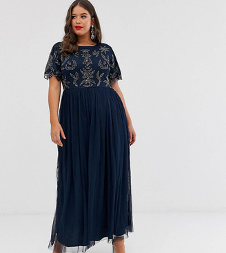 Lovedrobe Luxe embellished top maxi dress-Navy