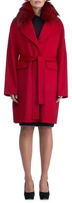Gorski Fox Fur-Trim Cashmere Short Coat