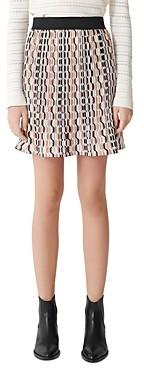 Maje Jockilana Geometric Print Pleated Mini Skirt