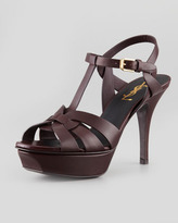 Saint Laurent Tribute Low-Heel Leather Sandal, Dark Red