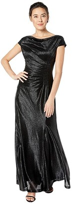 Tahari ASL Petite Novelty Stretch Metallic Gown w/ Cap Sleeve and Side Shirring (Black) Women's Dress