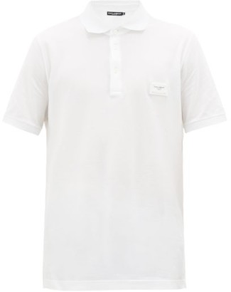 Dolce & Gabbana Logo-patch Cotton-pique Polo Shirt - Mens - White
