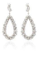 Suzanne Kalan Baguetted and Round White Diamonds Drop Earrings