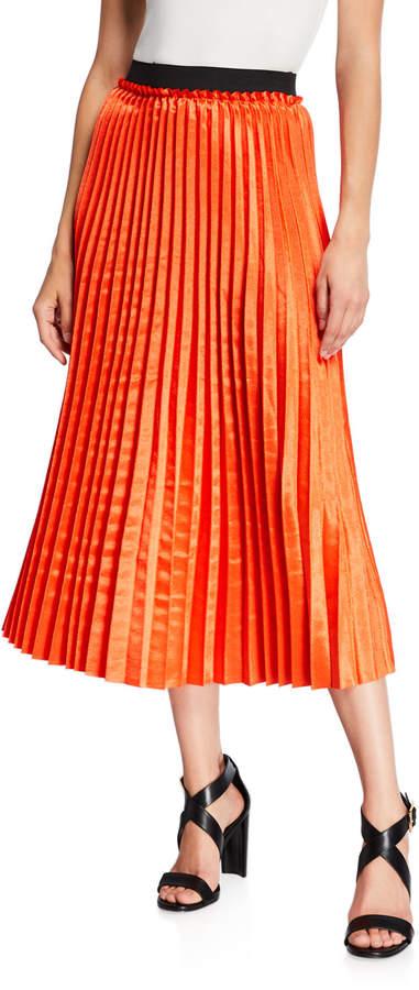 48d06781064 Orange Pleated Skirt - ShopStyle