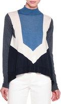 Stella McCartney Mock-Neck Graphic-Striped Sweater, Gesso/Blue/Gray/Ink