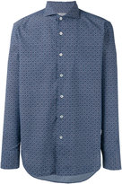 Canali tile print slim-fit shirt
