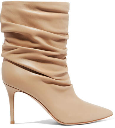 Gianvito Rossi Cecile 85 Leather Ankle Boots - Beige