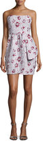 Shoshanna Strapless Floral-Print Mini Dress, Blush Multi