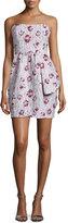 Shoshanna Strapless Floral-Print Mini Dress, Blush Multi