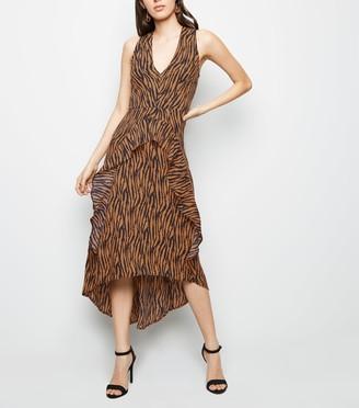 New Look AX Paris Tiger Print Dip Hem Midi Dress