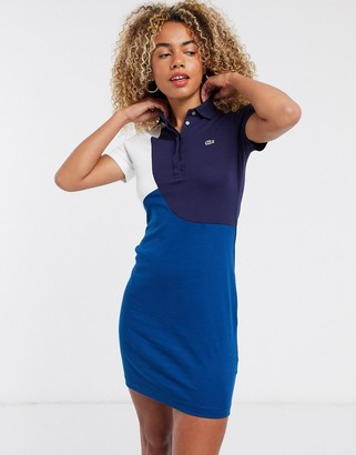 Lacoste graphic polo mini dress in blue multi