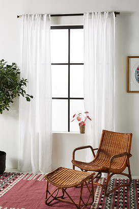 Anthropologie Stitched Linen Curtain By in White Size 50X63