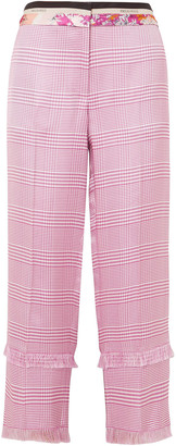 Emilio Pucci Cropped Prince Of Wales Checked Satin-twill Straight-leg Pants