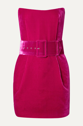 Rasario Strapless Belted Velvet Mini Dress - Magenta