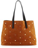 Neiman Marcus Studded Faux-Suede Tote Bag, Cognac