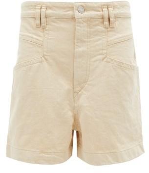 Isabel Marant Esquia High-rise Cotton Shorts - Womens - Ivory