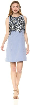 Nicole Miller Women's Sleeveless a-line Dress with lace Bodice Overlay