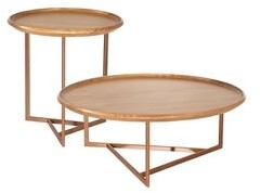 Manhattan Comfort Knickerbocker Modern Brown Wood Accent Table Set of 2 with Steel Base