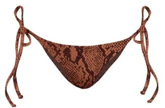 Mara Hoffman Lei Snakeskin Effect Jacquard Bikini Briefs - Womens - Brown