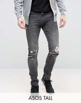 Asos TALL Super Skinny Jeans With Knee Zip Rips In Washed Black
