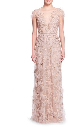 Marchesa Illusion-Neck Embellished Gown