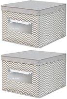 InterDesign Chevron Fabric Closet/Dresser Drawer Storage Organizer, Box for Clothing, Shoes, Handbags, Jeans - Set of 2, Large, Taupe/Natural