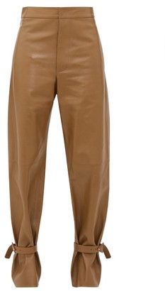 Bottega Veneta Cuffed Ankle Wide-leg Leather Trousers - Womens - Brown