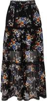 River Island Womens Black chiffon floral print tiered maxi skirt