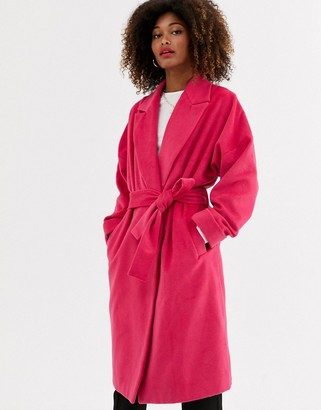 UNIQUE21 belted wool coat-Pink