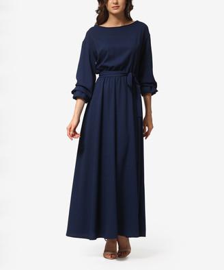 LADA LUCCI Women's Career Dresses Navy - Navy Tie-Waist A-Line Dress - Women & Plus