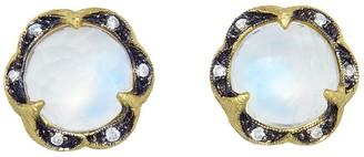 Cathy Waterman Rainbow Moonstone Scalloped Frame Stud Yellow Gold Earrings