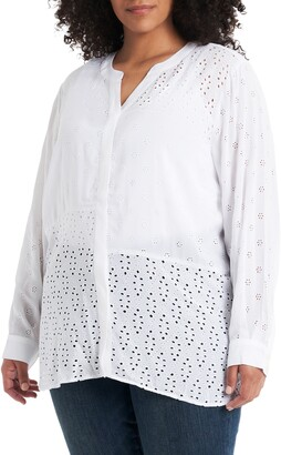Vince Camuto Split Neck Embroidered Tunic