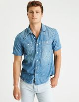 American Eagle Outfitters AE Short Sleeve Denim Shirt