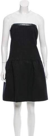 Chanel Leather-Trimmed Tweed Dress
