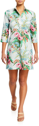 Bella Tu Audry Floral 3/4-Sleeve Stretch Cotton Shirtdress