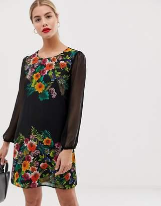 Yumi shift dress in tropical border print-Multi